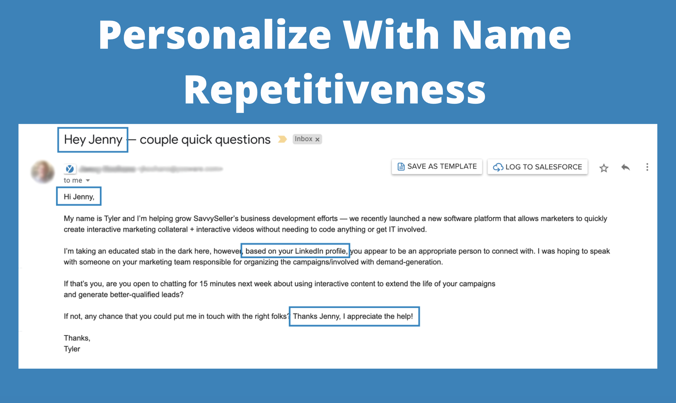 personalized emails: personalize with name repetitiveness