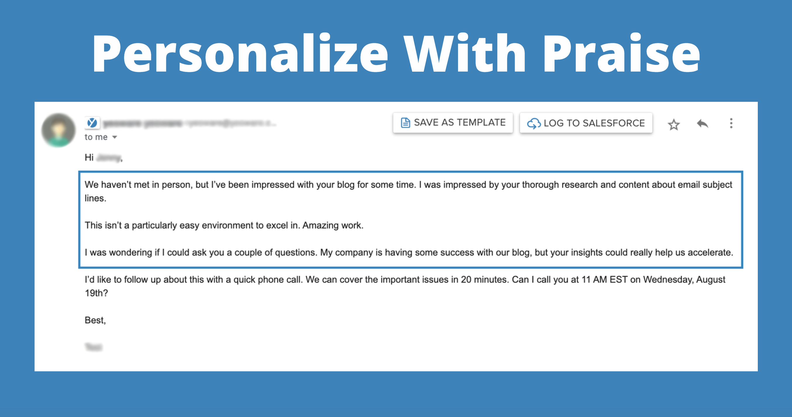 personalized emails: personalize with praise