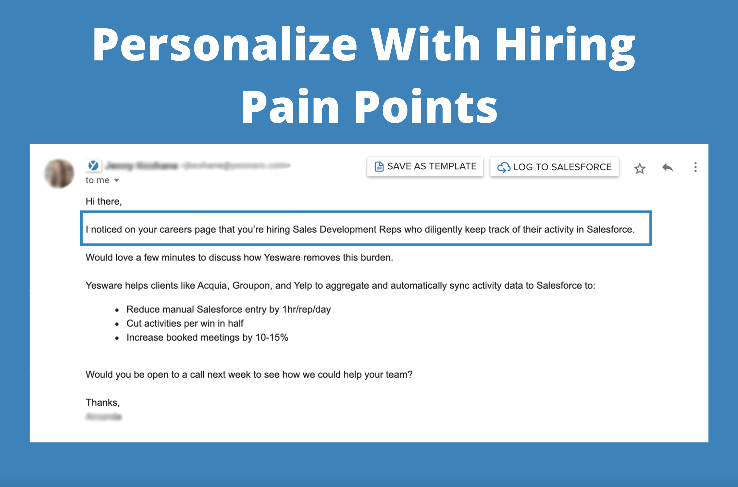 personalized emails: personalize with hiring pain points