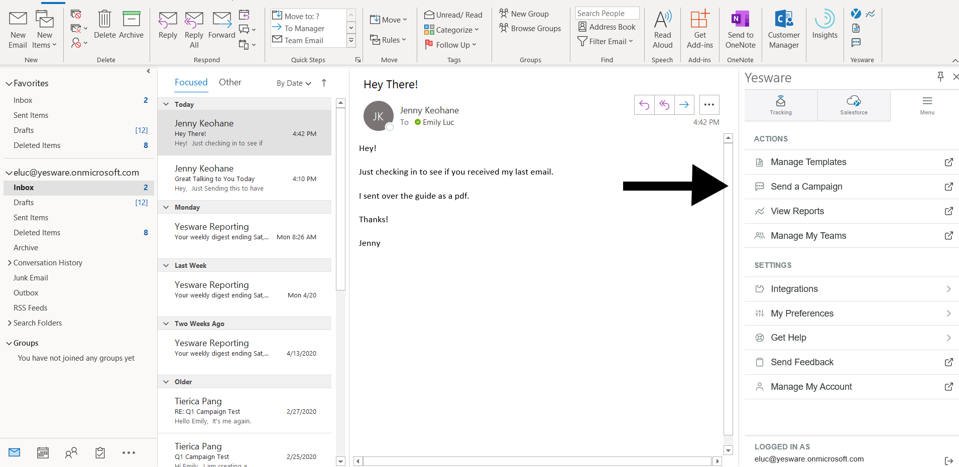 email campaign in your outlook inbox