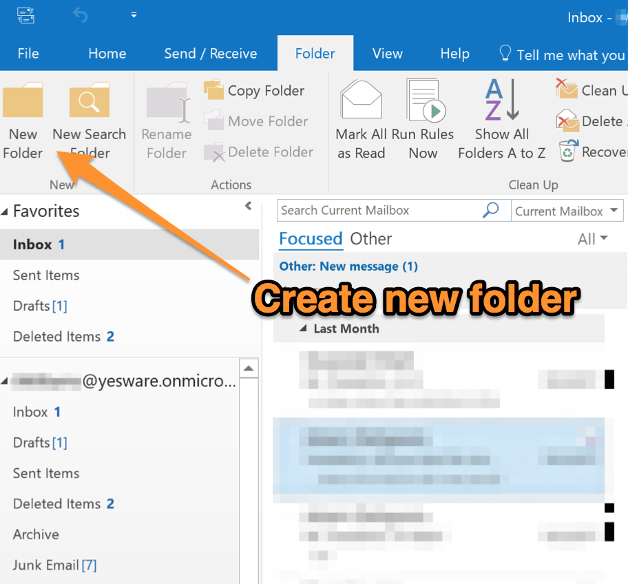 how to create folders in outlook