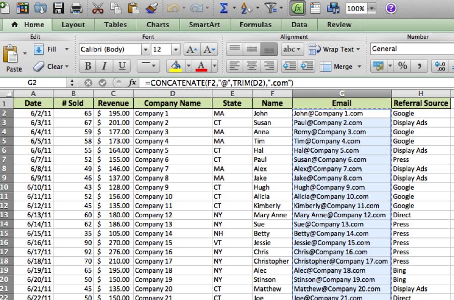 Excel sample spreadsheet