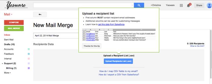 mail merge start