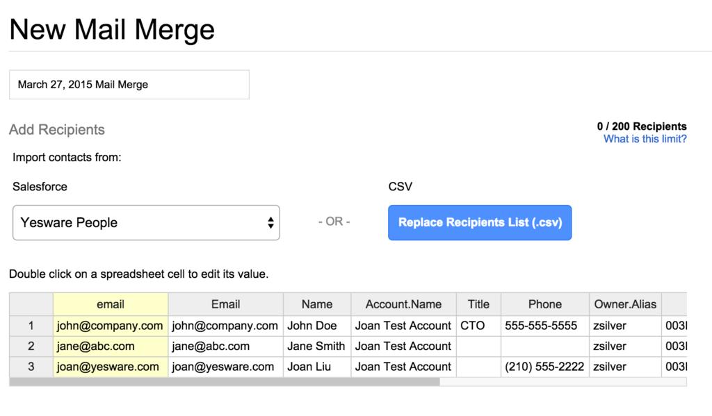salesforce list for mail merge