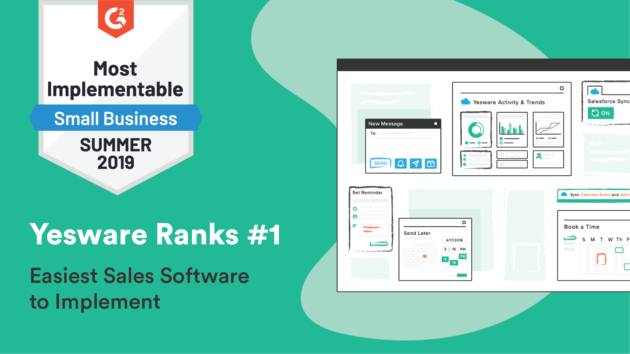 """Yesware Named """"#1 Easiest Sales Engagement Software to Implement"""" by G2 Crowd"""