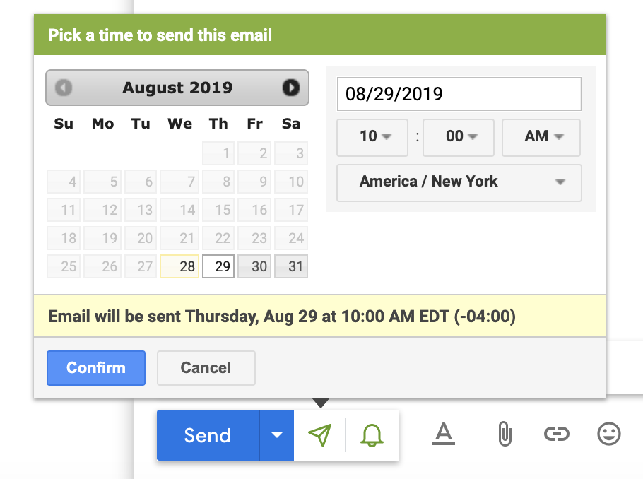 Use Yesware's Send Later feature to send your prospect a reminder email the morning of your meeting.