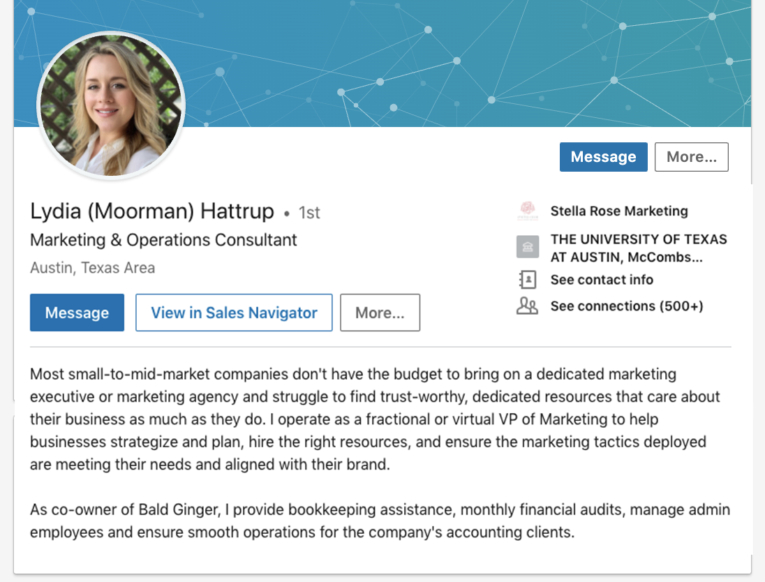 Linkedin summary example: Lydia Hattrup