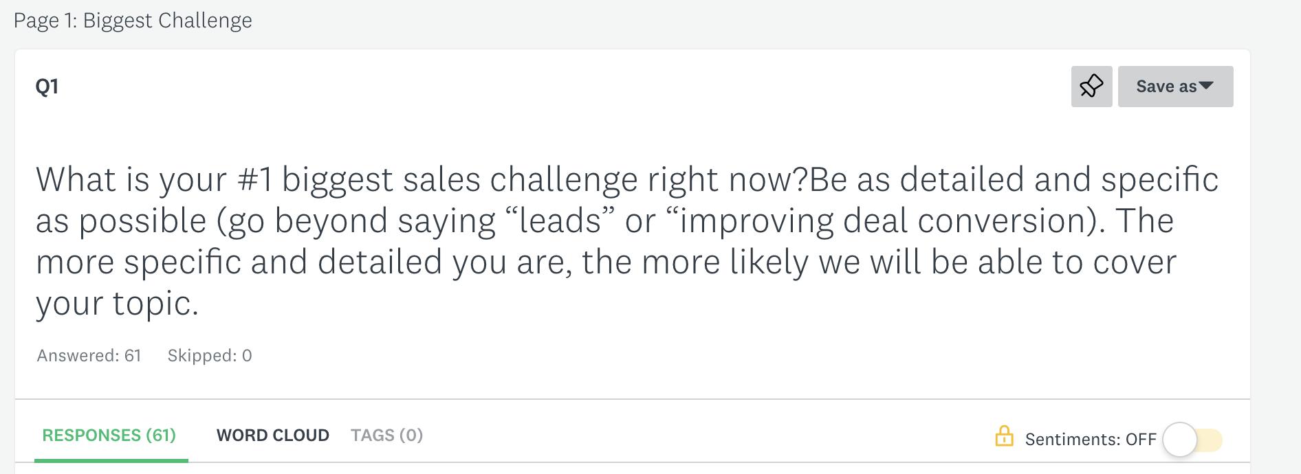 uncovering customer pain points with survey question: biggest sales challenge