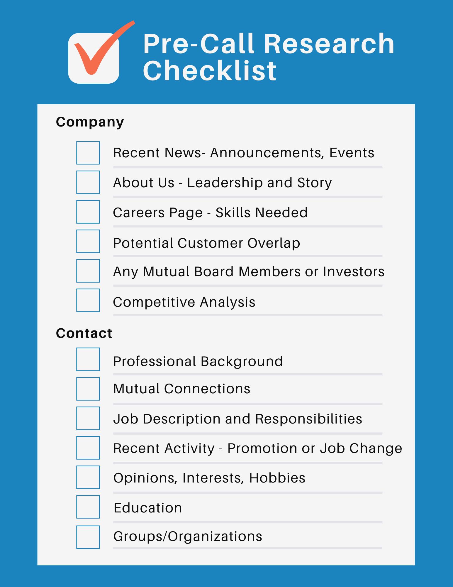 sales productivity: pre-call research checklist
