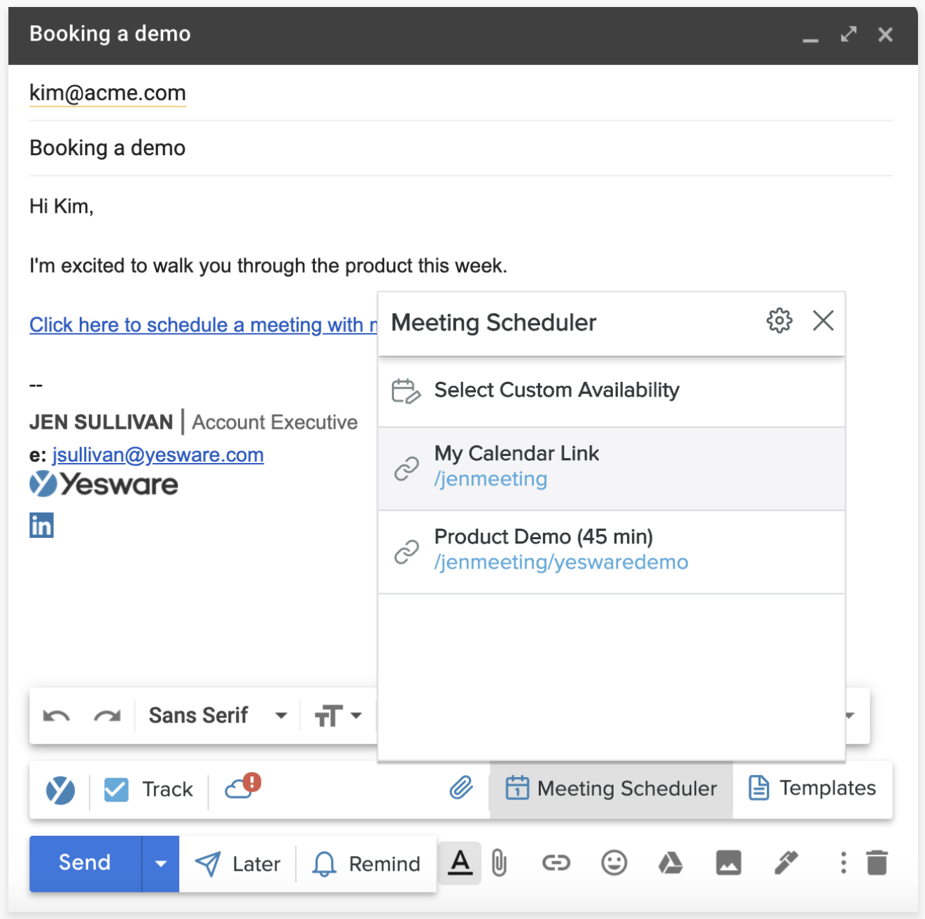 inserting a meeting link in your emails