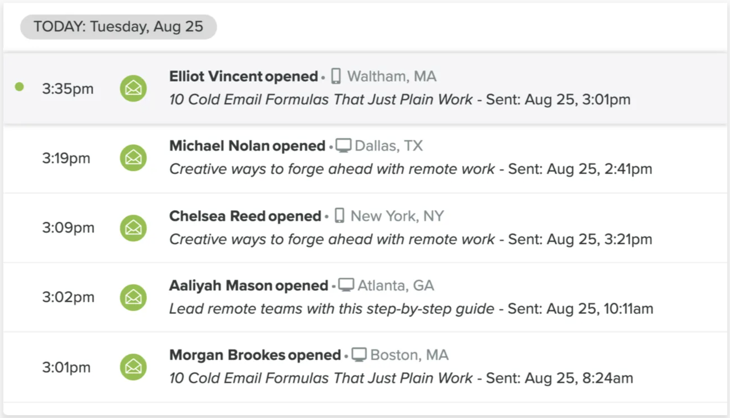 Tracking the effectiveness of cold email subject lines with Yesware Email Tracking.