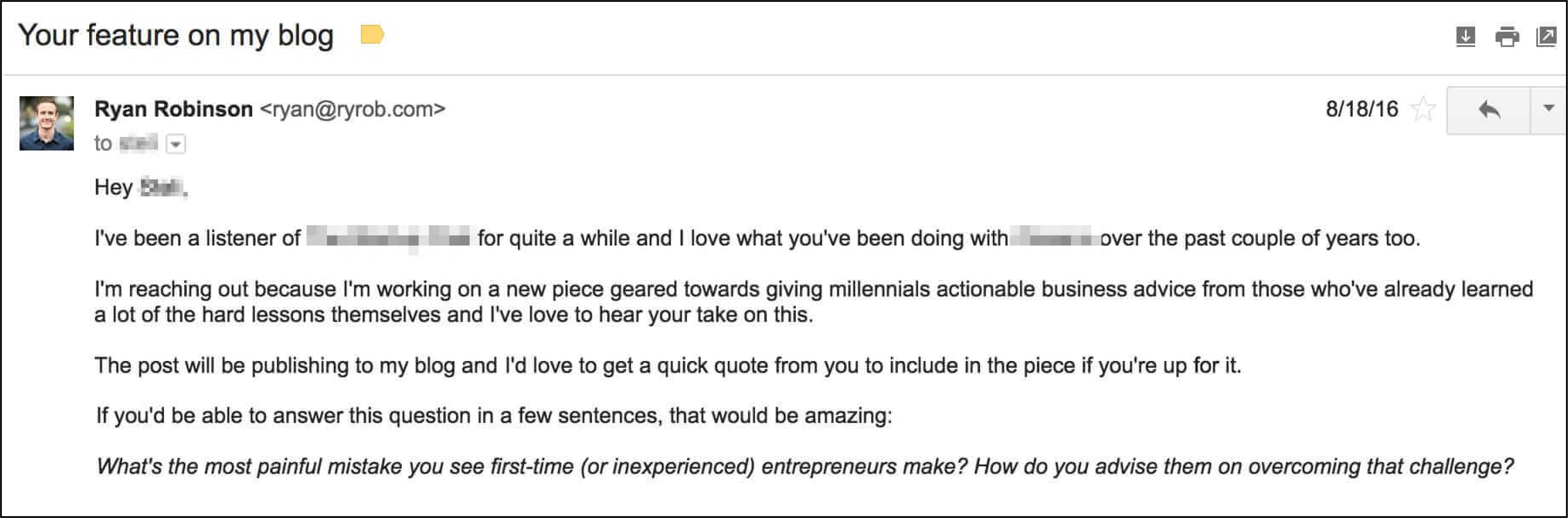 cold emailing sample
