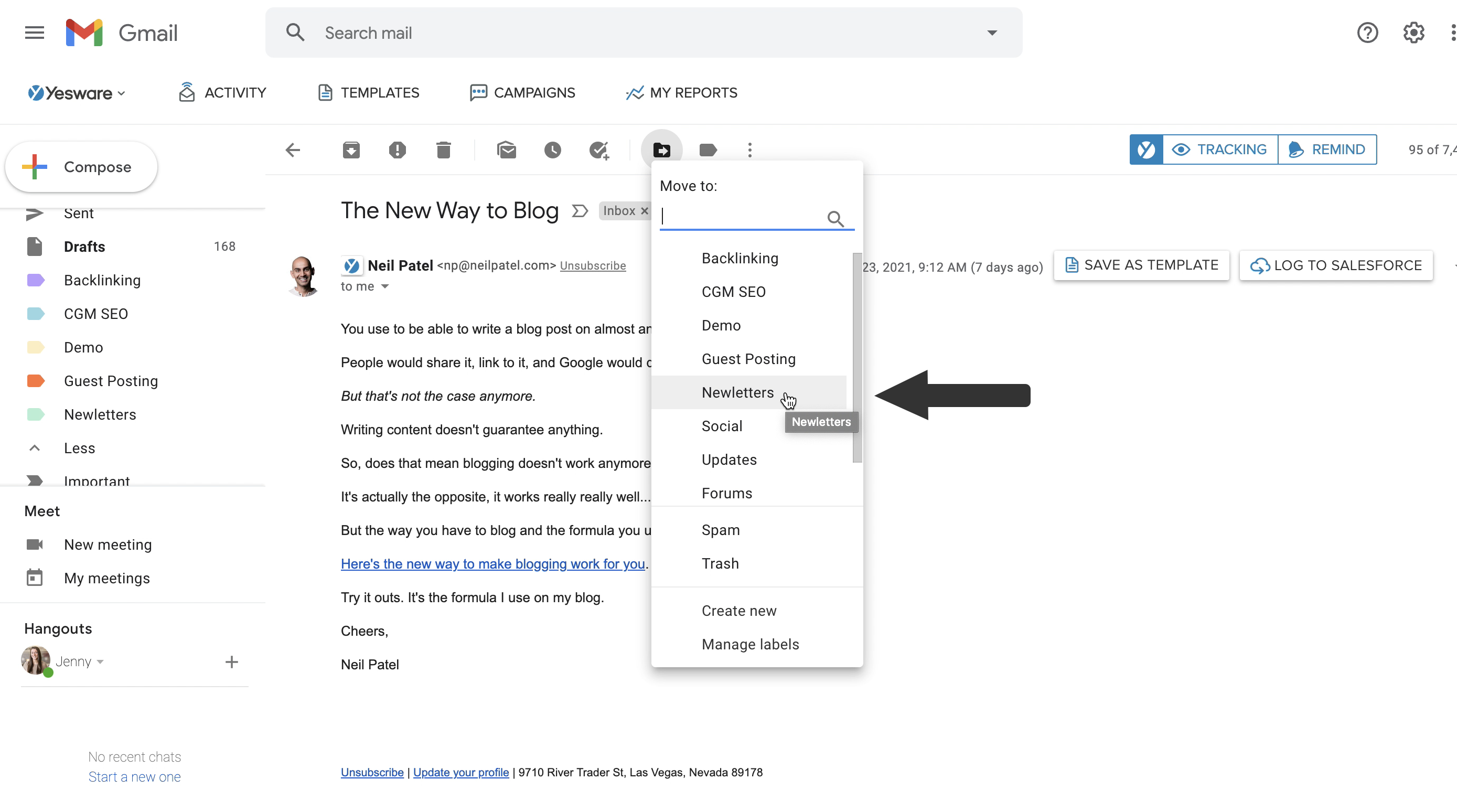 move to newsletters to folder for email productivity