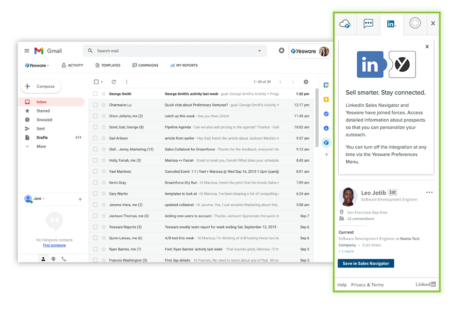 generate more sales leads with yesware's linkedin sales nav in your outlook or gmail inbox