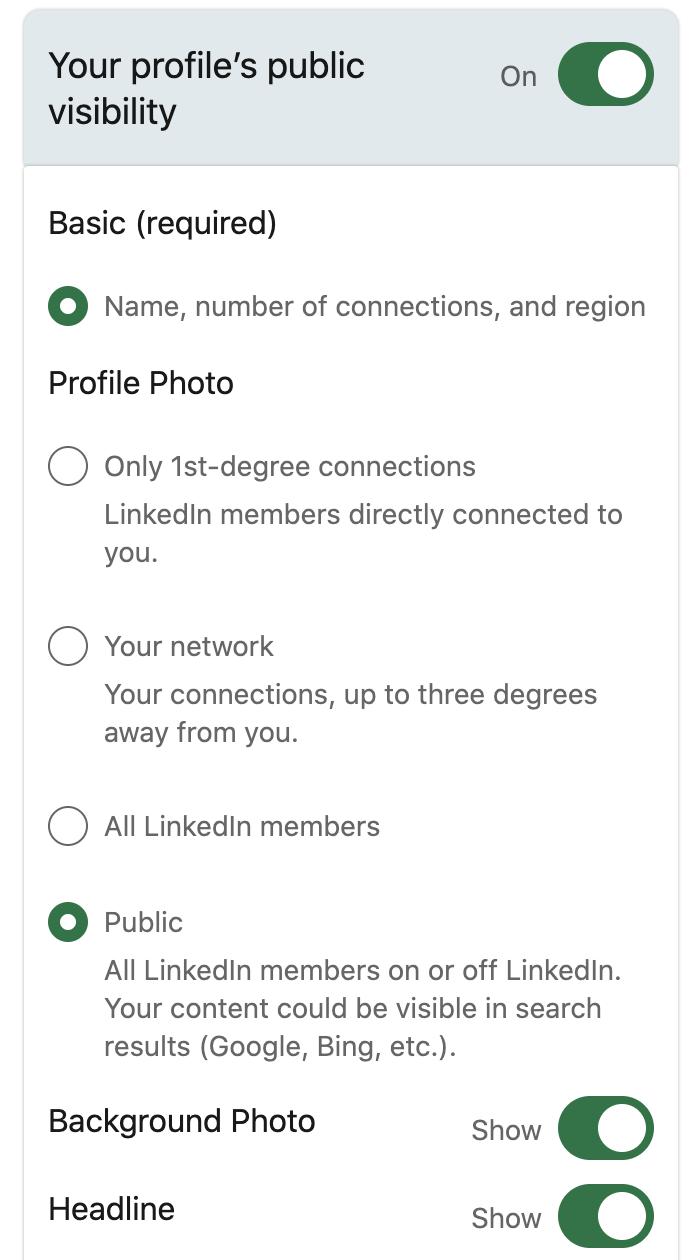 profile's public visibility for LinkedIn prospecting