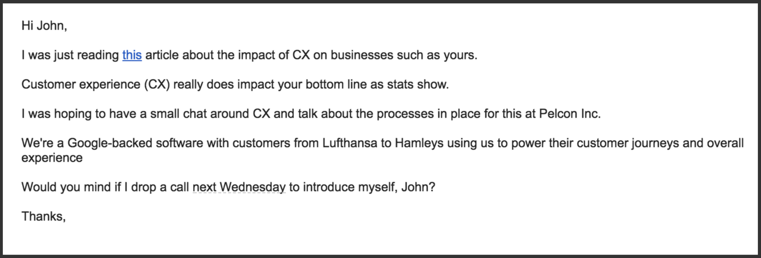 sales follow-up email example