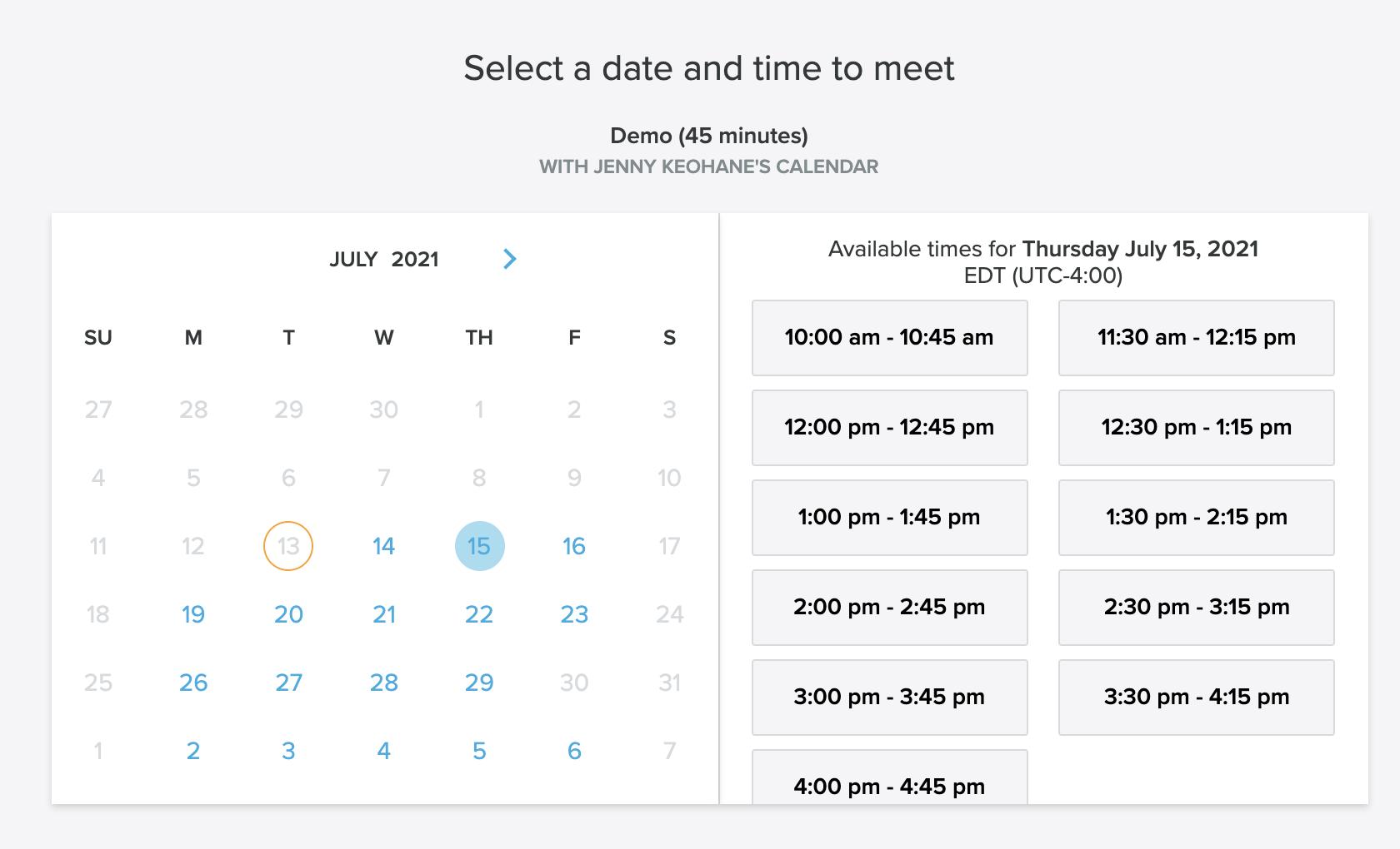 Strategic Sales Plans Examples: meeting scheduler