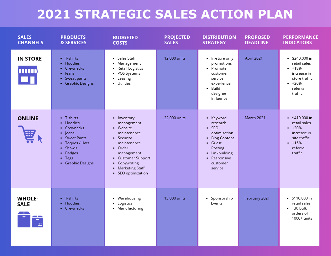 Strategic Sales Plans Examples: action plan