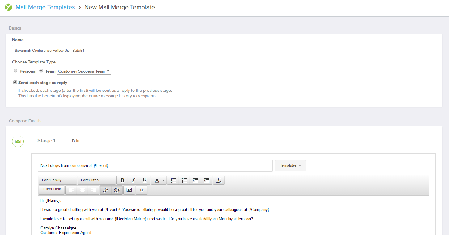 Creating a New Mail Merge Template