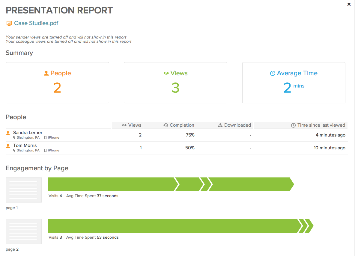 Presentation Tracking - Report View 2