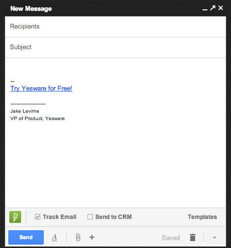 Yesware Gmail Compose