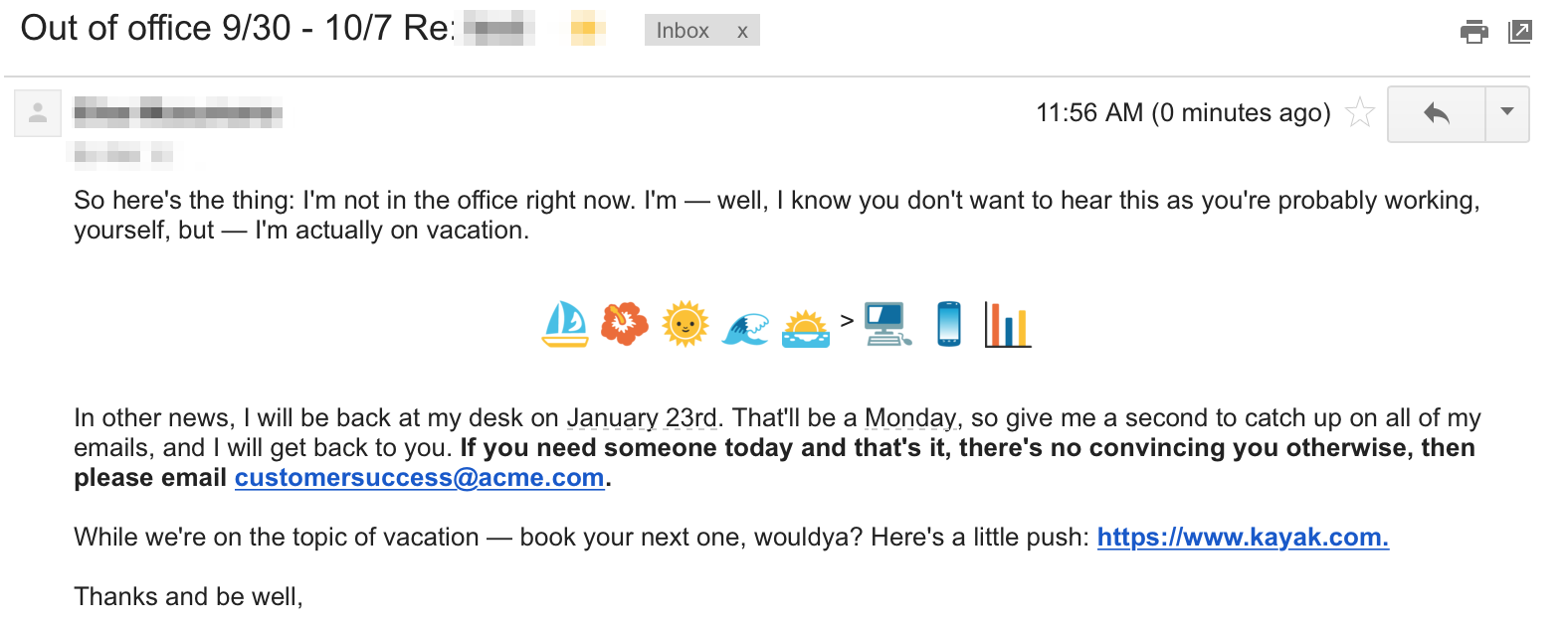out of office example with emojis