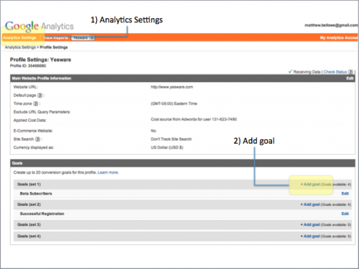 Starting a Google Analytics Goal