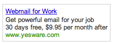 Webmail for Work Google Adword