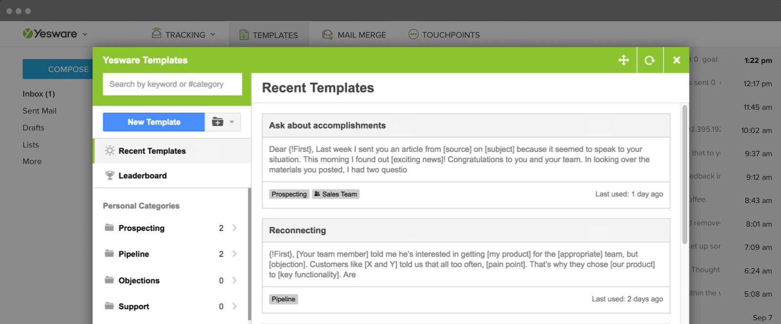 time management apps yesware insertable templates for your inbox