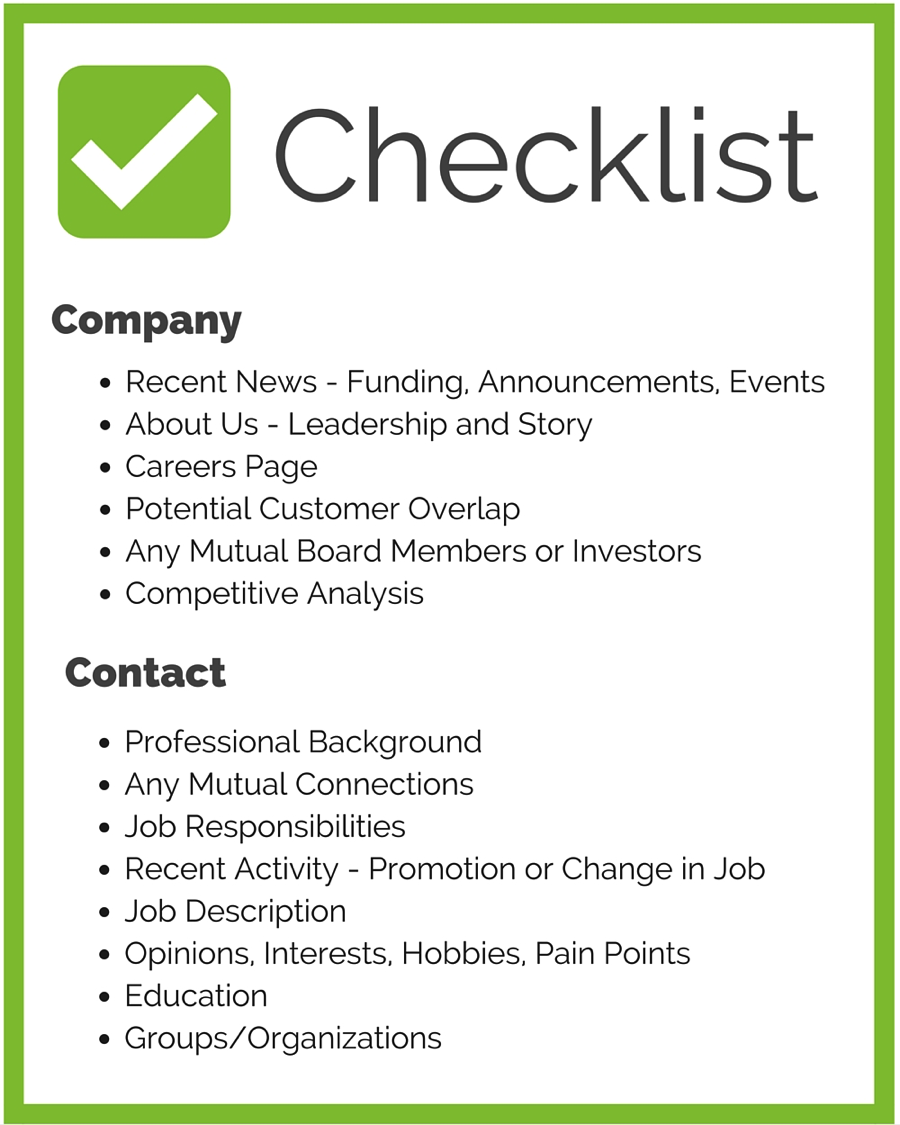 checklist sales call research