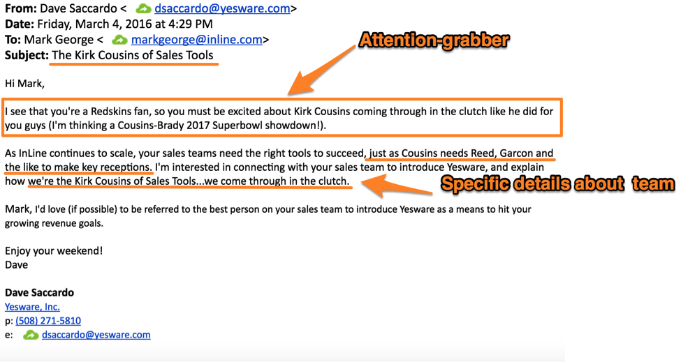 cold email template for prospects who love sports