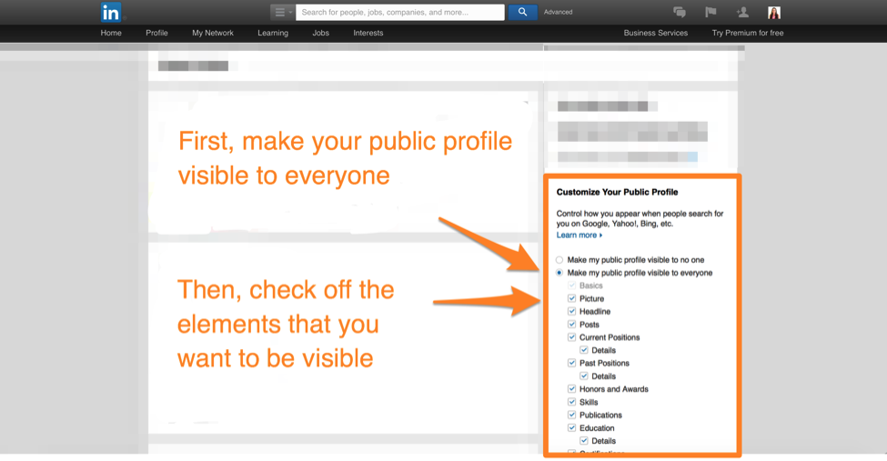 how to make your linkedin profile public step 2