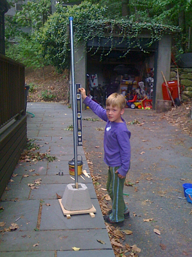 Checking that the pole is straight
