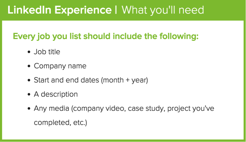 linkedin profile experience section what to include