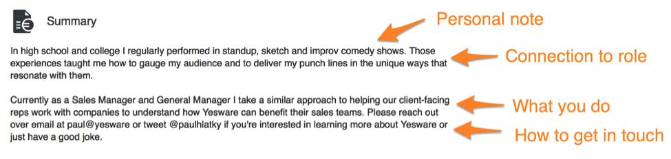 linkedin-profile-good-summary-example-for-sales
