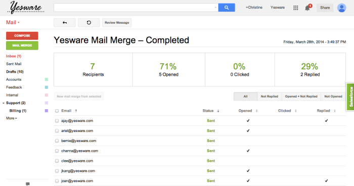 Yesware mail merge