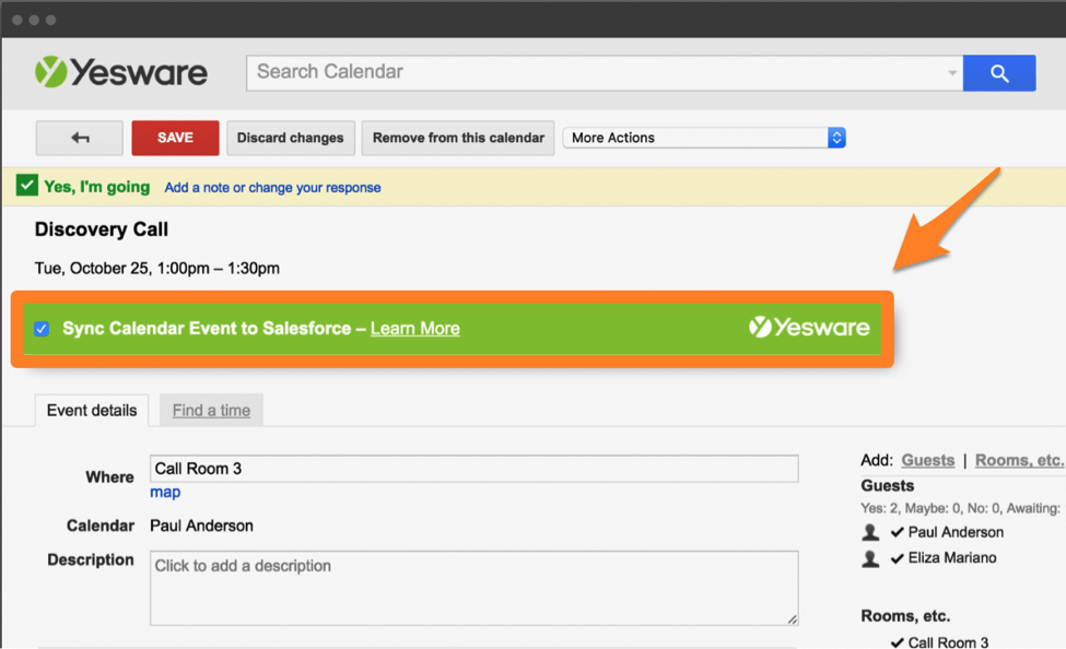 gmail extension how to sync meetings to salesforce