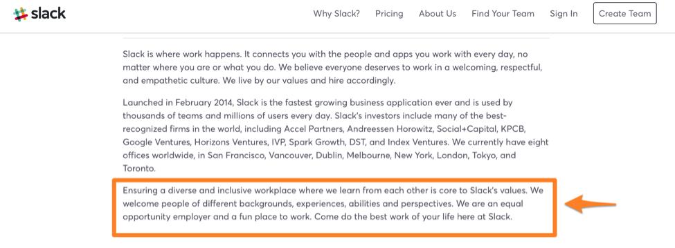 slack job description diversity statement