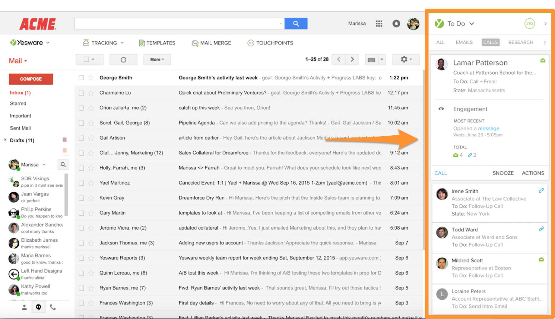 yesware touchpoints gmail sidebar